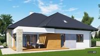 План дома в европейском стиле с просторной террасой и гаражом на две машины