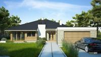 Проект одноэтажного красивого коттеджа с просторным гаражом