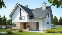 Проект двухэтажного дома с красивой гостиной