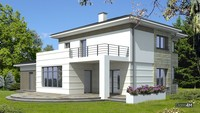 Красивый жилой дом с полукруглыми верандамиv