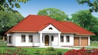 Проект красивого одноэтажного дома в классическом стиле с гаражом