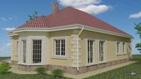 Стильный одноэтажный дом с кухней-студией и эркером