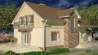 Стильный особняк с двумя террасами и большим балконом
