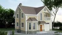 Двухэтажный дом в классическом стиле с эркером