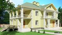 Двухэтажный дом с просторными балконами и террасами