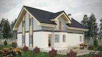 Строгий двухэтажный дом с эркерами и балконами