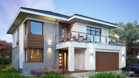 Стильный двухэтажный дом с красивой верандой