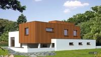 Проект белоснежного коттеджа с деревянным декором жилой площадью 90 кв.м