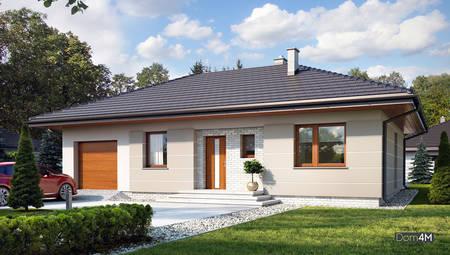 Небольшой дом в европейском стиле со встроенным гаражом