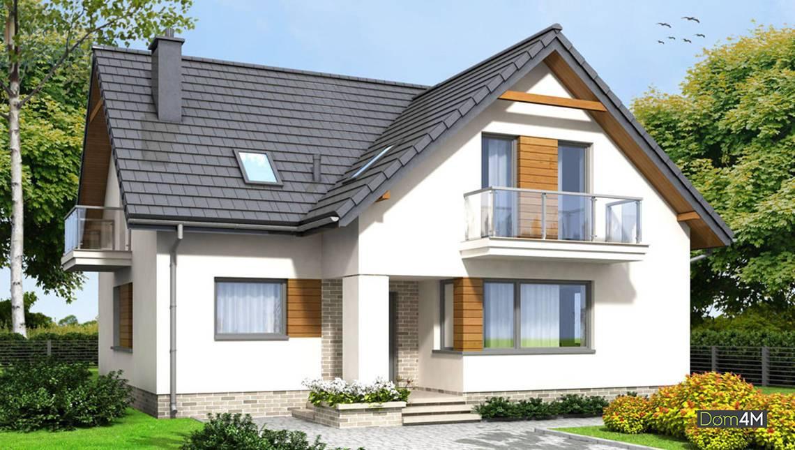 План современного коттеджа со стеклянными балконами и деревянным декором общей площадью 165 кв. м, жилой 110 кв. м