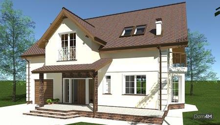 План современного европейского особняка общей площадью 225 кв. м с эркером и балконом на втором этаже