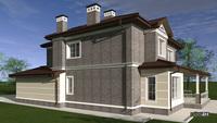 Проект кирпичного особняка площадью 273 кв.м с песочным декором нижнего уровня