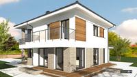 Белоснежная усадьба в два уровня со стильными балконами и кирпичным декором общей площадью 216 кв. м, жилой 108 кв. м