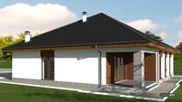 Проект симпатичного европейского дома площадью 205 кв. м с гаражом на два авто
