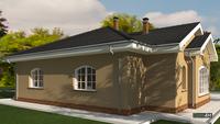 План просторного дома в стиле конструктивизма с крышей сложной формы общей площадью 195 кв. м, жилой 95 кв. м