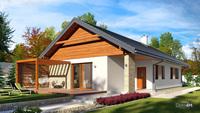 Красивый компактный дом с кирпичным декором для узкого участка