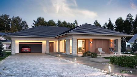 План небольшого одноэтажного коттеджа Г-образной формы с жилой площадью 45 кв. м