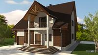 План двухэтажного кирпичного особняка общей площадью 277 кв. м