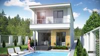 Красивый коттедж для узкого участка общей площадью 181 кв. м, жилой 89 кв. м
