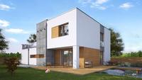 Проект двухэтажного особняка в стиле минимализма с декором из гранитных плит общей площадью 220 кв. м, жилой 86 кв. м