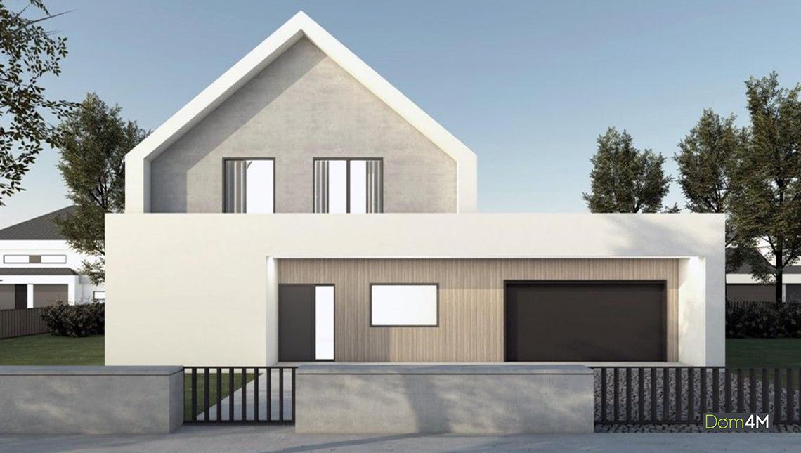 Проект дома с стиле барнхаус с просторной террассой на крыше гаража