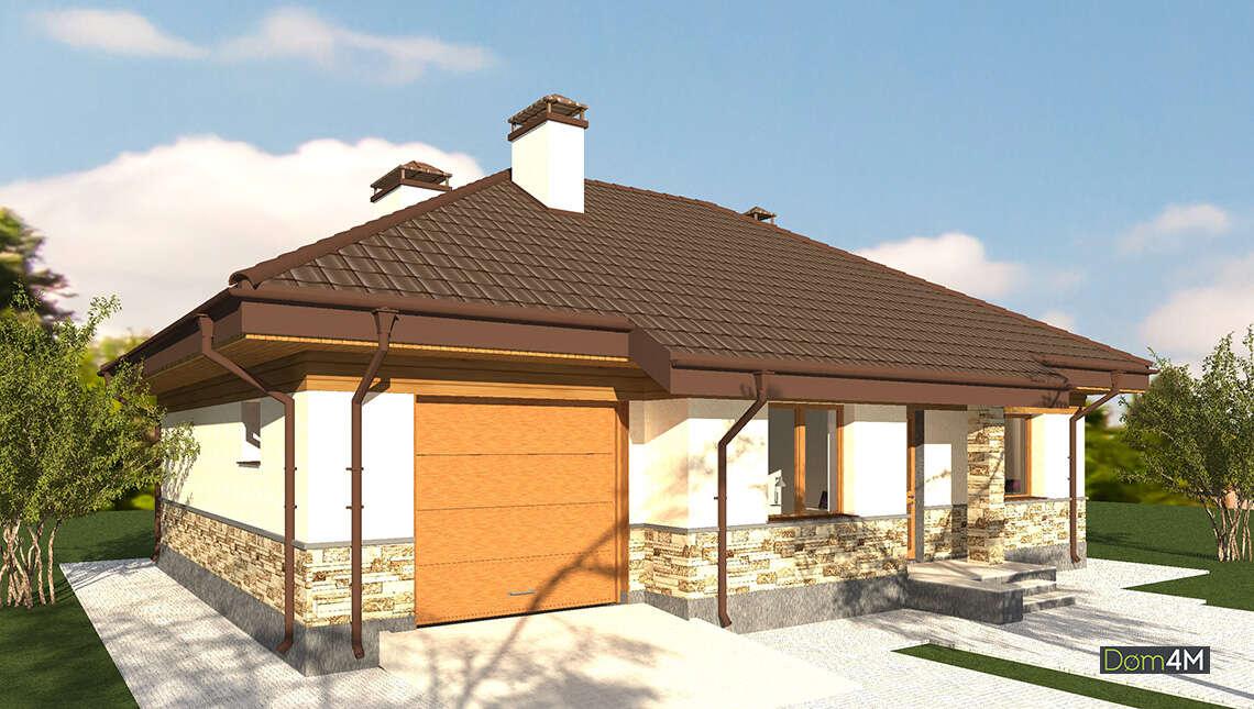 План симпатичного одноэтажного коттеджа с красочным натуральным декором общей площадью 130 кв. м, жилой 61 кв. м