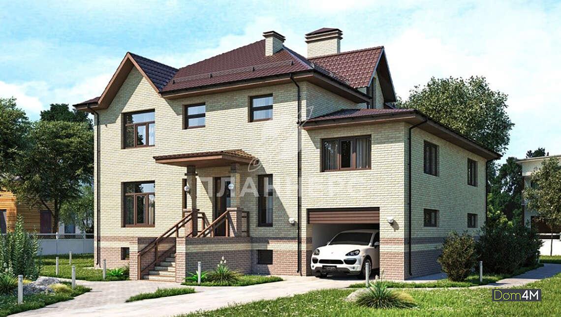 Проект шикарного многоуровневого особняка площадью 436 кв. м со встроенным гаражом