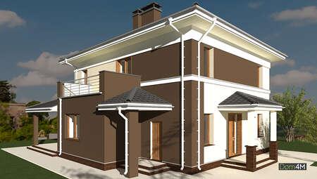 План двухэтажного дома площадью 178 кв. м с оригинальным внешним видом