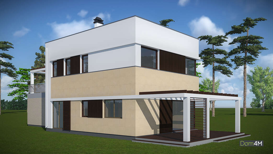 План современного коттеджа в стиле минимализма площадью 173 кв. м с пристроенным гаражом