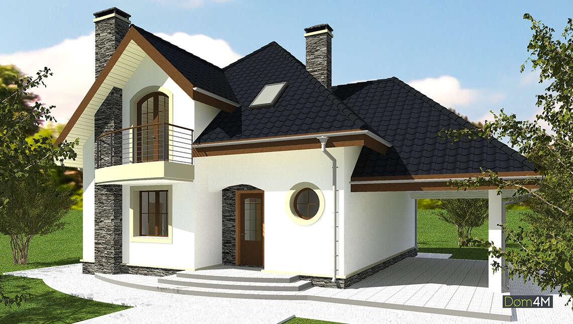 Уникальный дом в два этажа с навесом для автомобиля