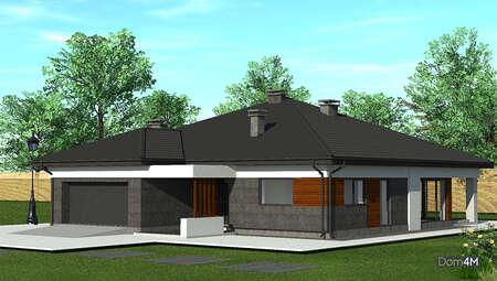 Просторный дом с контрастным экстерьером