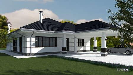 Проект дома площадью 170 кв. м с капитальным навесом для автомобиля