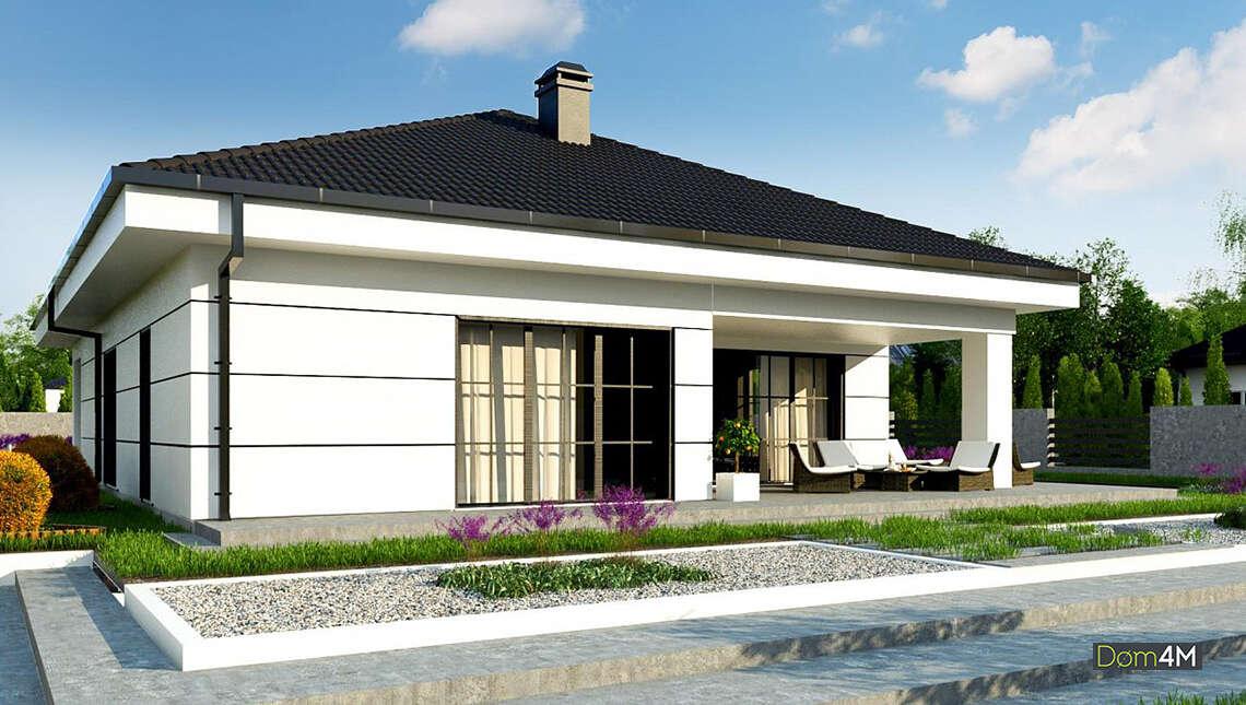 Проект одноэтажного коттеджа площадью 164 кв. м в европейском стиле с тремя спальнями и гаражом