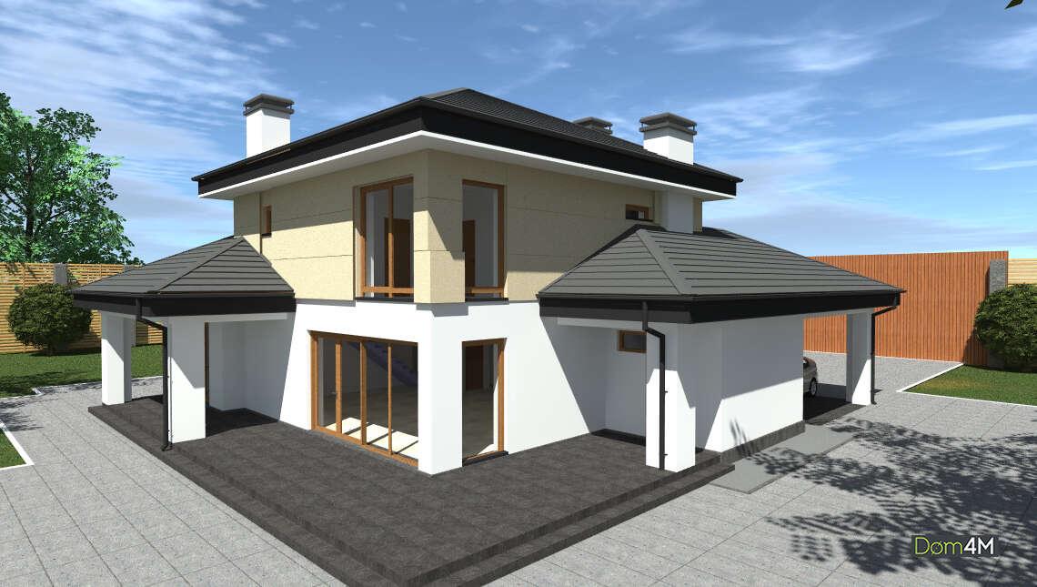 Схема оригинального коттеджа площадью 188 кв. м в европейском стиле с просторной гостиной