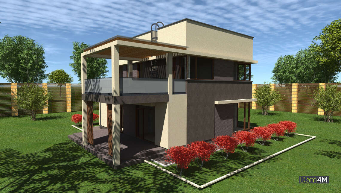 Проект современного двухэтажного дома площадью 148 кв. м с оригинальной конструкцией балкона и террасы
