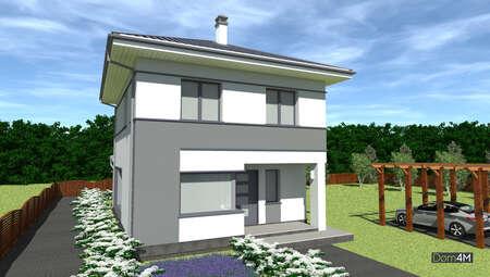 Компактный дом с экстерьером в легком контрасте нейтральных цветов