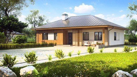Загородный дом с многоскатной крышей