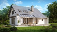 Проект симпатичного классического частного дома с террасой над гаражом