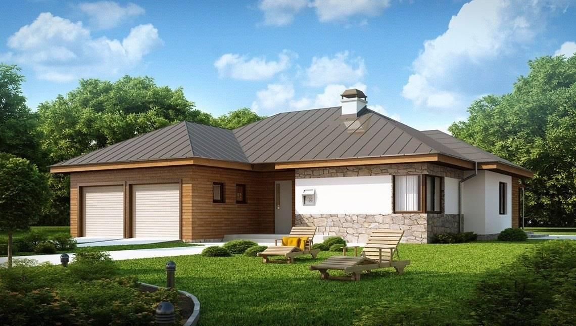 Одноэтажный коттедж с кирпичным фасадом и с гаражом для двух авто
