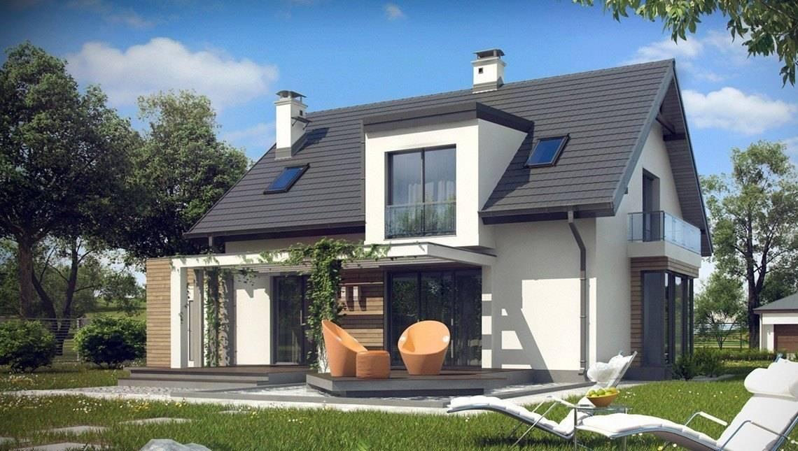Проект дома с необычной мансардой и гаражом