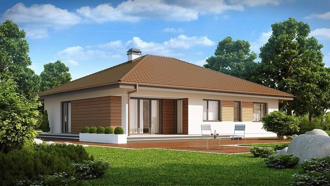 Одноэтажный коттедж с гаражом для двух автомобилей и большим хозяйственным помещением