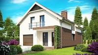 Проект комфортабельного дома с мансардой и встроенным гаражом