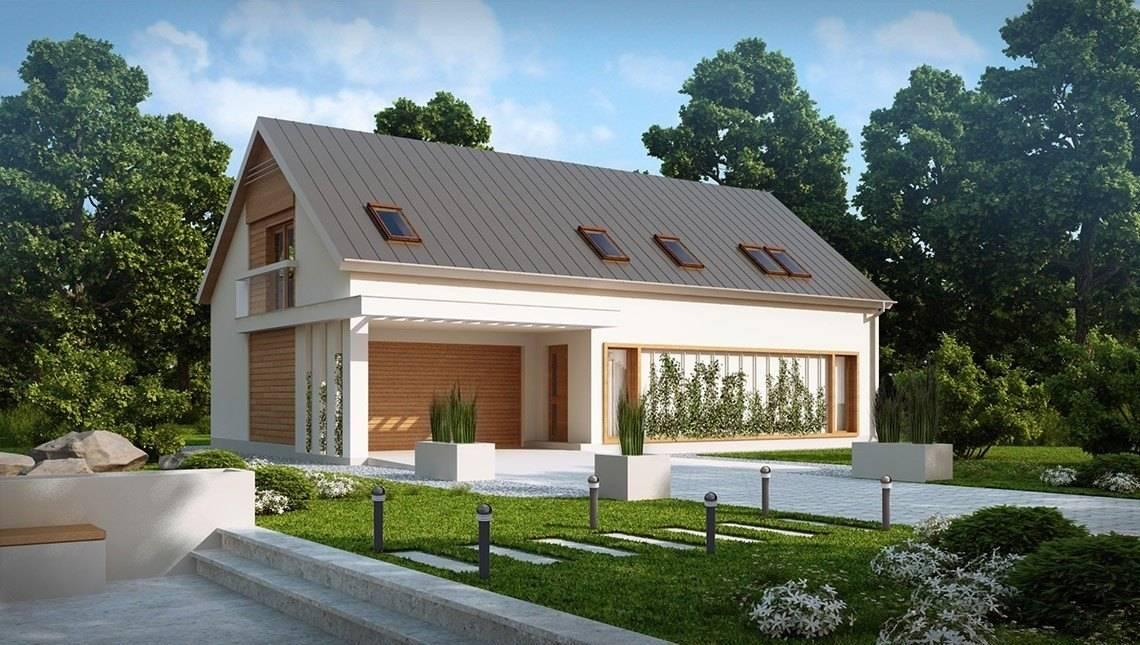 Проект дома с двускатной кровлей и гаражом для 2х авто