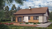Проект маленького аккуратного одноэтажного дома с двускатной крышей
