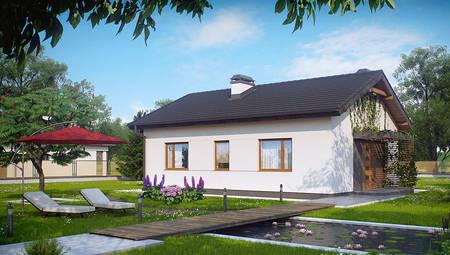 Проект небольшого одноэтажного дома с входом сбоку