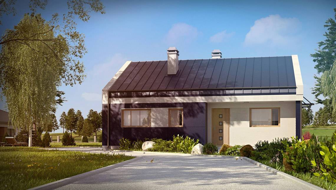 Проект одноэтажного дома хай-тек с необычной террасой