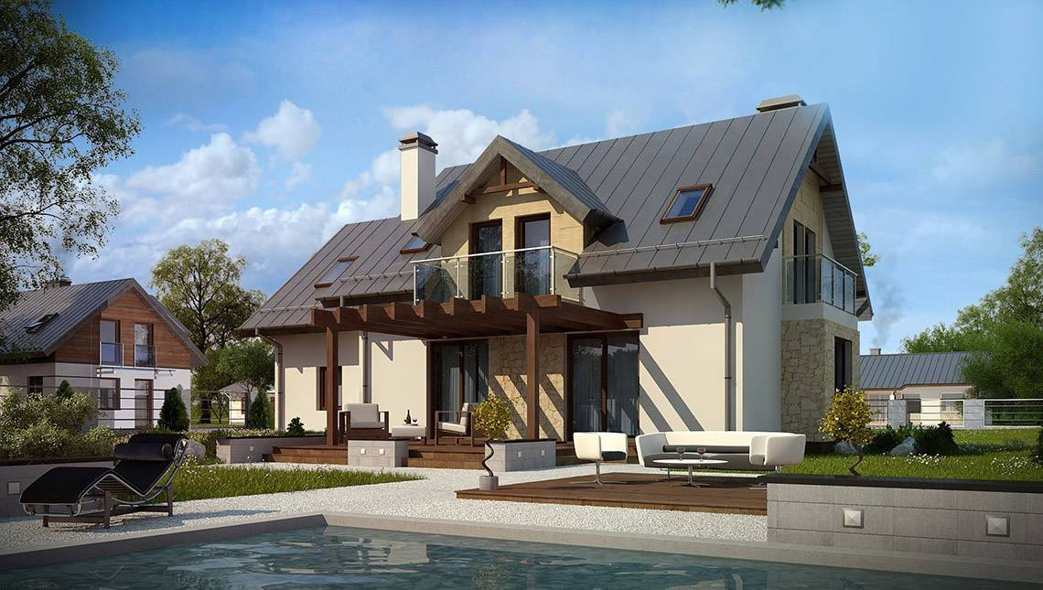 Проект современного дома с 5-ю спальнями и встроенным гаражом