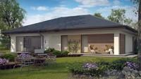 Проект одноэтажного дома с гаражом для 1-го автомобиля