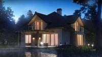 Проект дома с симпатичными окнами и гаражом для двух автомобилей