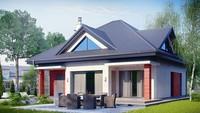 Проект особняка со встроенным гаражом и остекленной гостиной